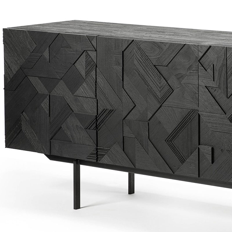 Ethnicraft Graphic Sideboard by Alain van Havre Three Door 02 Olson and Baker - Designer & Contemporary Sofas, Furniture - Olson and Baker showcases original designs from authentic, designer brands. Buy contemporary furniture, lighting, storage, sofas & chairs at Olson + Baker.