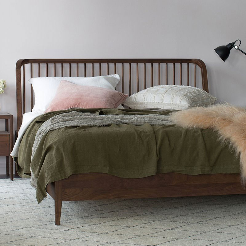 Spindle Bed By Nathan Yong, Walnut Spindle Bed Queen