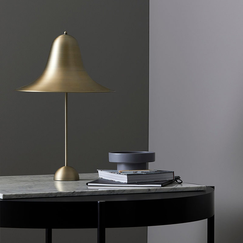 Verpan Pantop Large Table Lamp in Brass by Verner Panton life 1 Olson and Baker - Designer & Contemporary Sofas, Furniture - Olson and Baker showcases original designs from authentic, designer brands. Buy contemporary furniture, lighting, storage, sofas & chairs at Olson + Baker.