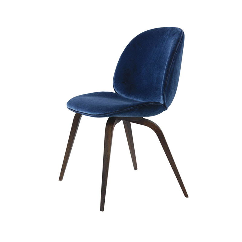 Gubi Beetle Fully Upholstered Dining Chair with Wooden Base by Gam Fratesi
