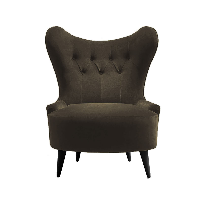Olson and Baker Ampère Lounge Chair in Velvet by Olson and Baker Studio