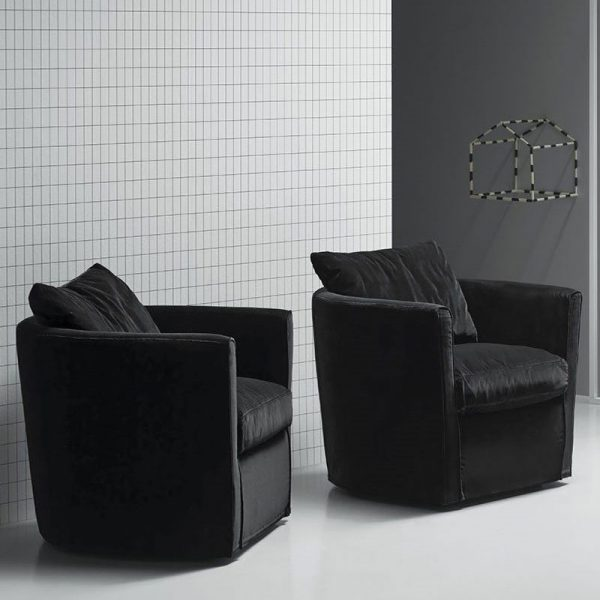 Bernoulli Lounge Chair in Velvet