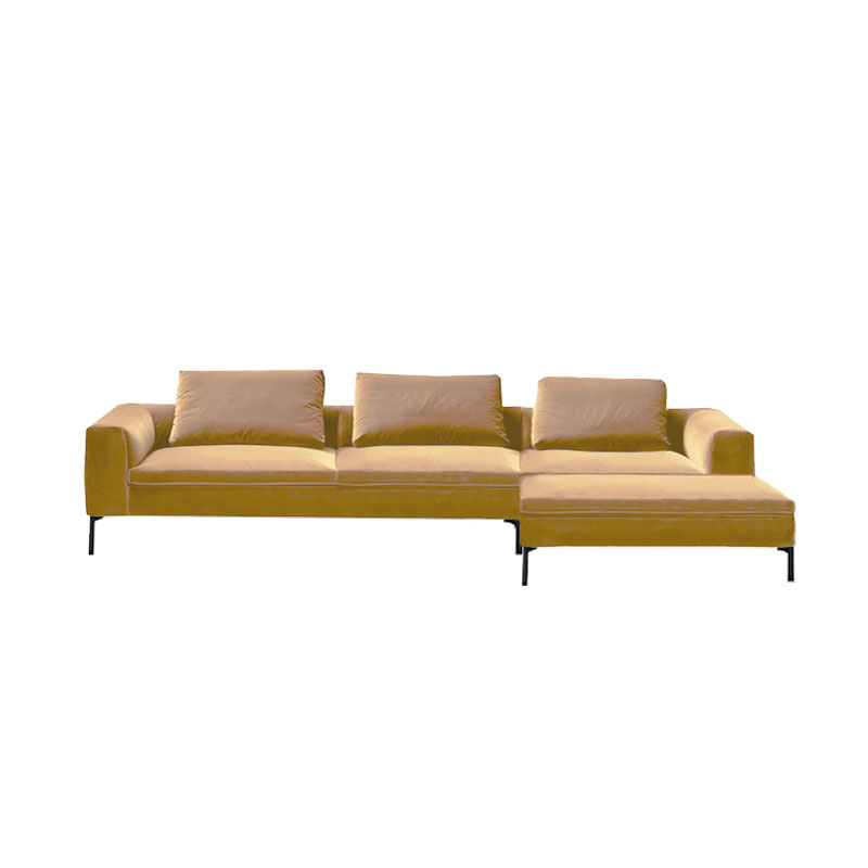 Olson and Baker Cockcroft Right Hand Chaise Sofa in Velvet by Olson and Baker Studio