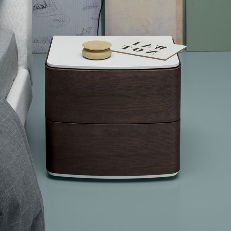 Dalton Bedside Table with Two Drawers by Olson and Baker Lifeshot 01