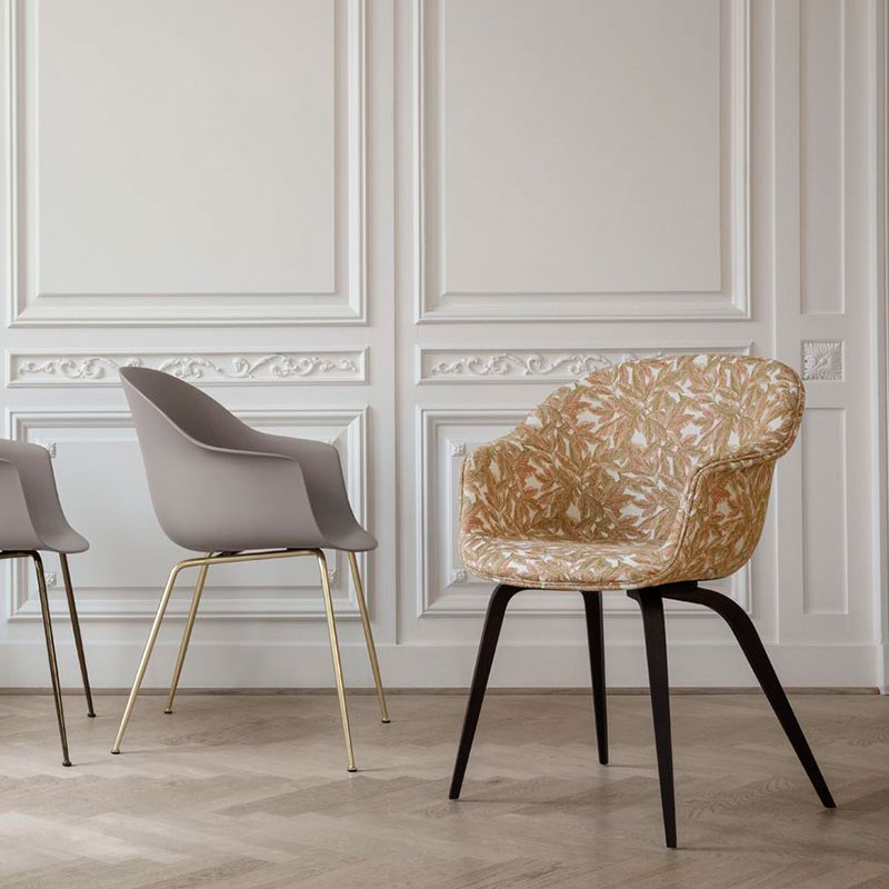 Gubi Bat Fully Upholstered Dining Chair with Wooden Legs by Gam Fratasi life