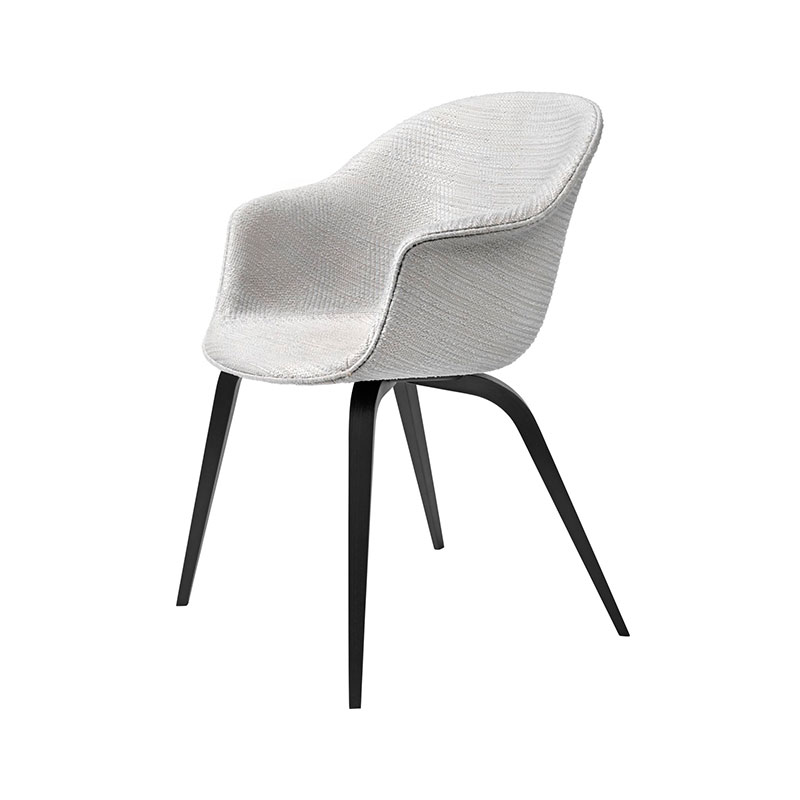 Gubi Bat Fully Upholstered Dining Chair with Wooden Legs by GamFratesi