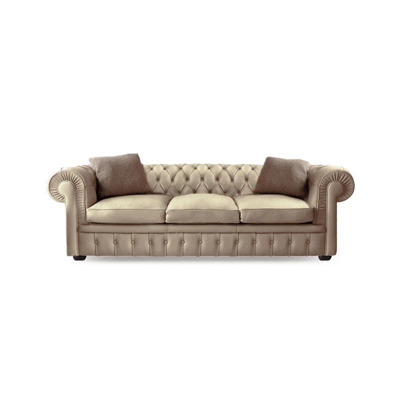 Olson and Baker Stanhope Three Seat Sofa in Leather by Olson and Baker Studio