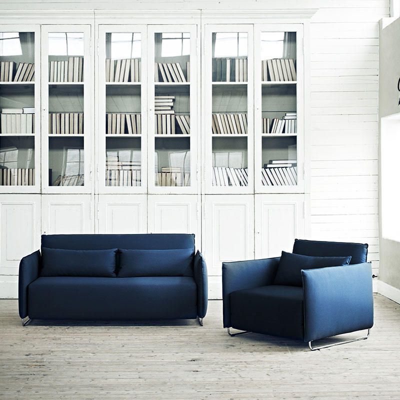 Softline Cord Two Seat Sofa Bed Lifeshot 01 Olson and Baker - Designer & Contemporary Sofas, Furniture - Olson and Baker showcases original designs from authentic, designer brands. Buy contemporary furniture, lighting, storage, sofas & chairs at Olson + Baker.