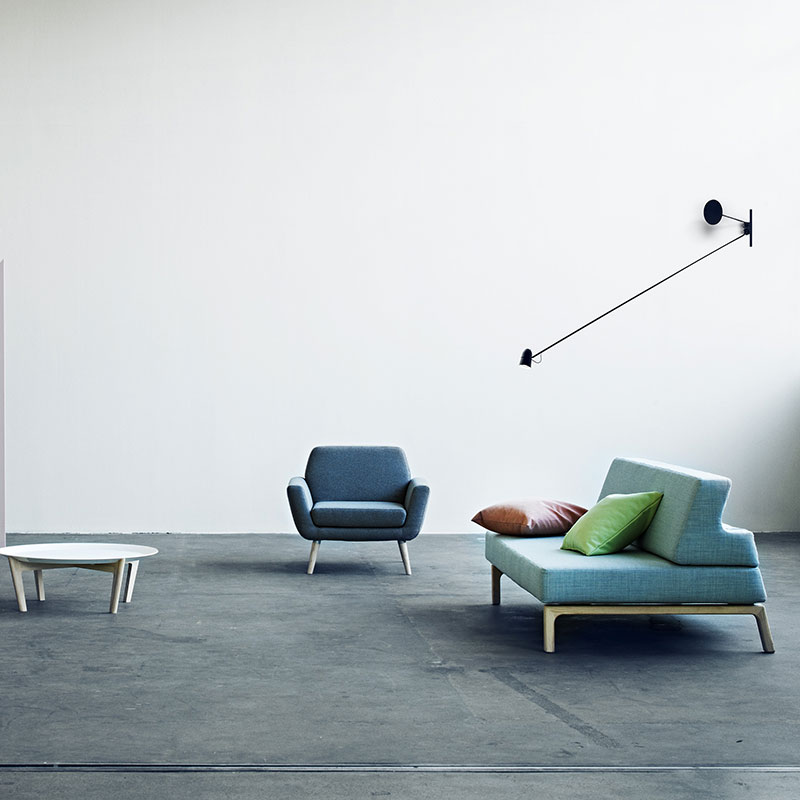 Softline Lazy Three Seat Sofa Bed Lifeshot 02 Olson and Baker - Designer & Contemporary Sofas, Furniture - Olson and Baker showcases original designs from authentic, designer brands. Buy contemporary furniture, lighting, storage, sofas & chairs at Olson + Baker.