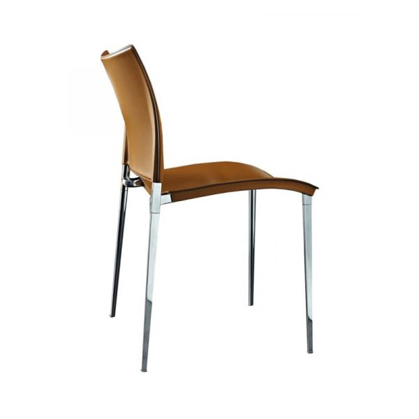Sand Dining Chair in Nuvola Leather with Polished Aluminium Base