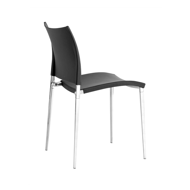 Desalto Sand Dining Chair in Nuvola Leather with Polished Aluminium Base by Pocci + Dondoli Olson and Baker - Designer & Contemporary Sofas, Furniture - Olson and Baker showcases original designs from authentic, designer brands. Buy contemporary furniture, lighting, storage, sofas & chairs at Olson + Baker.