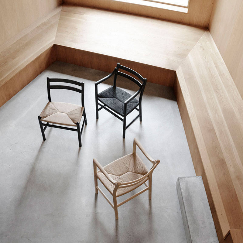 Carl Hansen CH46 Chair by Hans Wegner life 1 Olson and Baker - Designer & Contemporary Sofas, Furniture - Olson and Baker showcases original designs from authentic, designer brands. Buy contemporary furniture, lighting, storage, sofas & chairs at Olson + Baker.