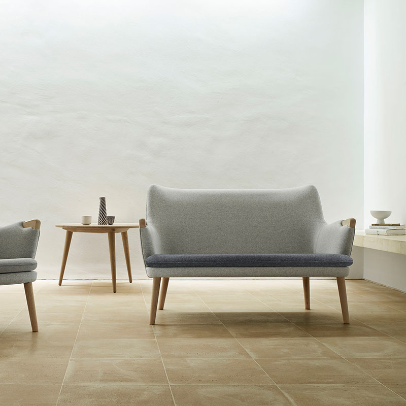 Carl Hansen CH72 Two Seat Sofa by Hans Wegner in Soaped Oak 120 and 180 Hallingal 3 Olson and Baker - Designer & Contemporary Sofas, Furniture - Olson and Baker showcases original designs from authentic, designer brands. Buy contemporary furniture, lighting, storage, sofas & chairs at Olson + Baker.