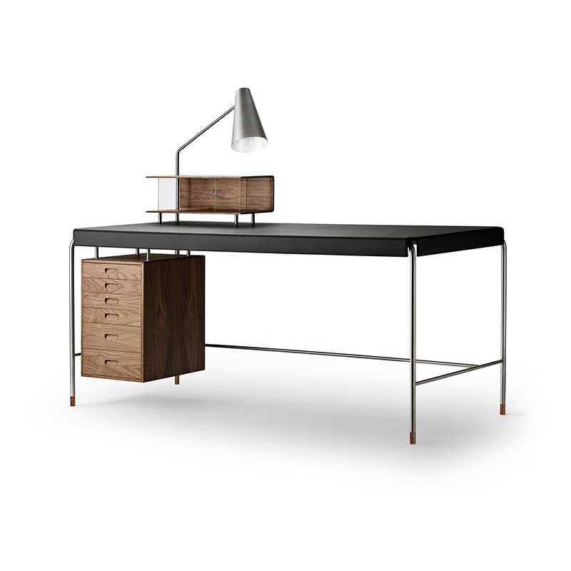 Carl Hansen AJ52 Society Desk with Freja 2002 Black Leather by Arne Jacobsen