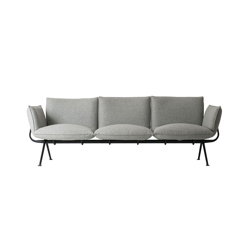 Magis Officina Three Seat Sofa with Forged Iron Black Base by Ronan & Erwan Bouroullec