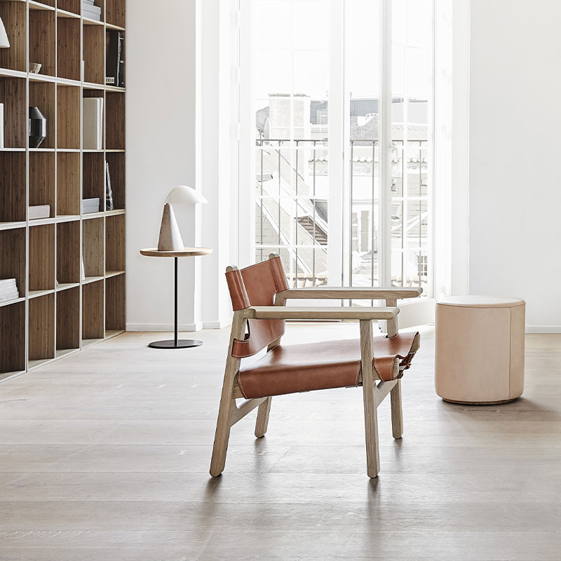 Fredericia_Mono_Ø39cm_Pouf_by_Due___Trampedach_90_Natural_Leather_2 Olson and Baker - Designer & Contemporary Sofas, Furniture - Olson and Baker showcases original designs from authentic, designer brands. Buy contemporary furniture, lighting, storage, sofas & chairs at Olson + Baker.