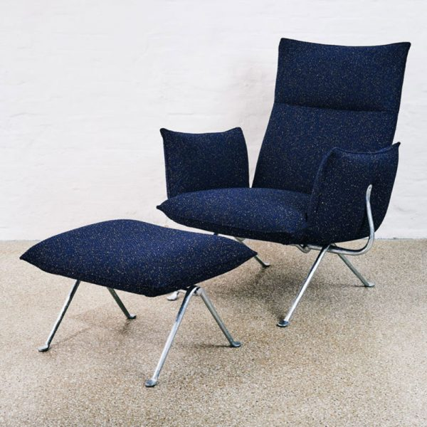 Officina Armchair with High Back in Kvadrat 0792 Pilot with Galvanized Iron Frame