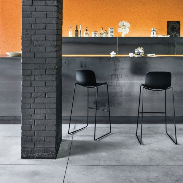 Troy Sledge Stacking High Bar Stool with Seat in Polypropylene Set of Two