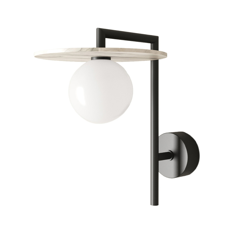 Aromas Miro Wall Lamp in Matt Black with Alabaster Disc Set of Two by AC Studio Olson and Baker - Designer & Contemporary Sofas, Furniture - Olson and Baker showcases original designs from authentic, designer brands. Buy contemporary furniture, lighting, storage, sofas & chairs at Olson + Baker.