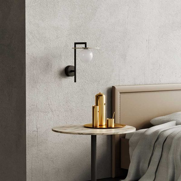 Miro Wall Lamp in Matt Black with Alabaster Disc Set of Two