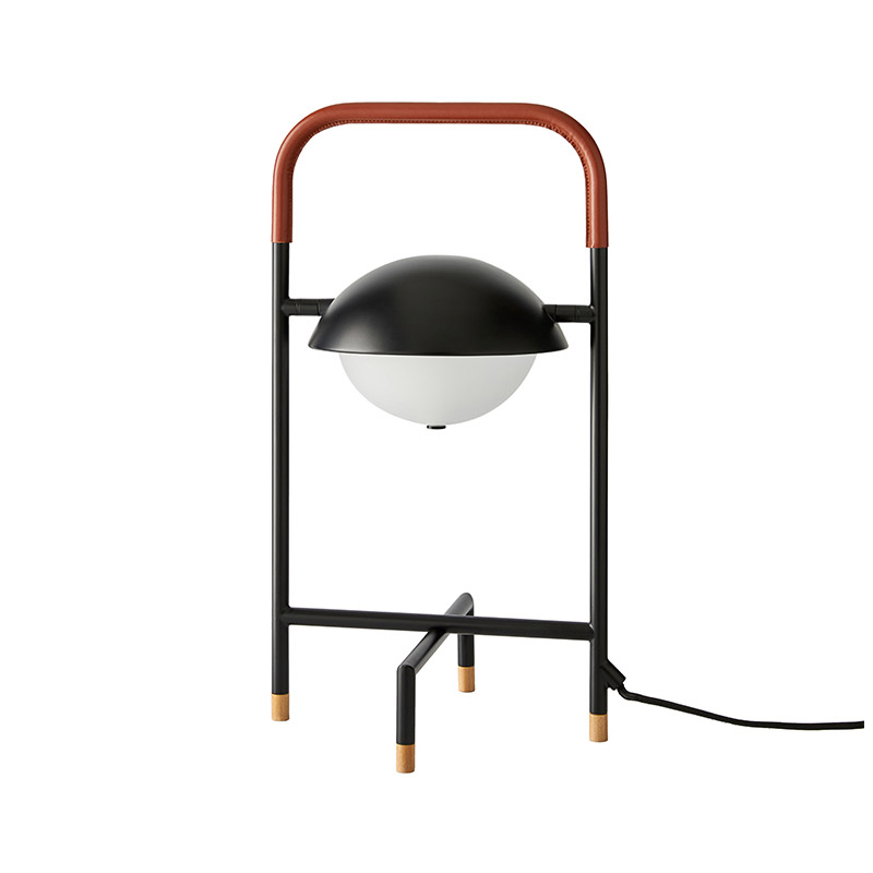 Aromas Wong Table Lamp in Matt Black and Brown Leather by Pepe Fornas Olson and Baker - Designer & Contemporary Sofas, Furniture - Olson and Baker showcases original designs from authentic, designer brands. Buy contemporary furniture, lighting, storage, sofas & chairs at Olson + Baker.