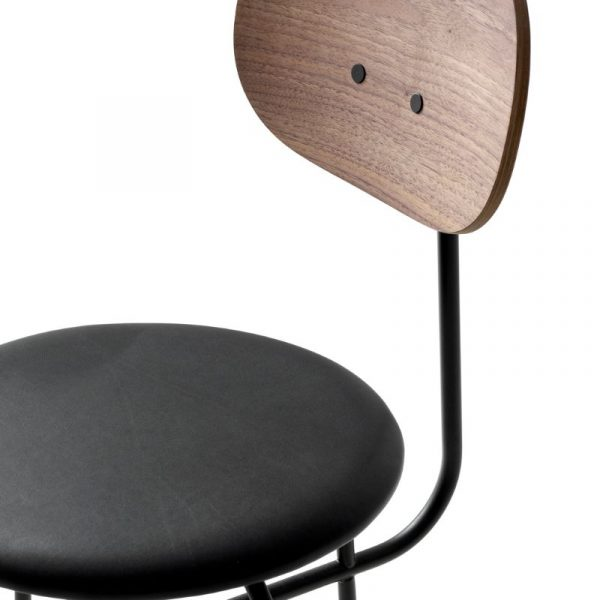 Afteroom Dining Chair Plus with Black Leather Upholstered Seat and Walnut Back