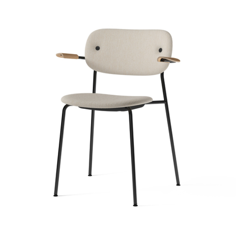 Menu-Co_Dining_Chair,_Fully_Upholstered_with_Armrest,_Black-by-Norm_Architects-Dedar_Milano_-_Doppiopanama_Avorio_(60__CO,_35__PL,_5__PA)-Menu_-_Natural_Oak-02 Olson and Baker - Designer & Contemporary Sofas, Furniture - Olson and Baker showcases original designs from authentic, designer brands. Buy contemporary furniture, lighting, storage, sofas & chairs at Olson + Baker.