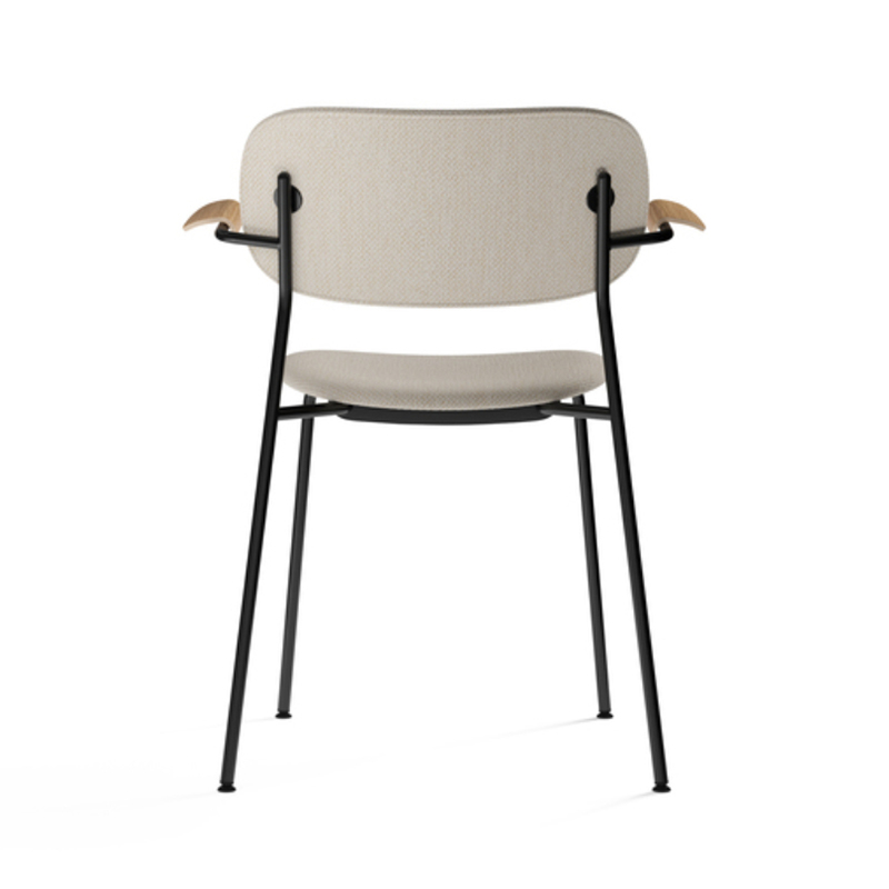 Menu-Co_Dining_Chair,_Fully_Upholstered_with_Armrest,_Black-by-Norm_Architects-Dedar_Milano_-_Doppiopanama_Avorio_(60__CO,_35__PL,_5__PA)-Menu_-_Natural_Oak-03 Olson and Baker - Designer & Contemporary Sofas, Furniture - Olson and Baker showcases original designs from authentic, designer brands. Buy contemporary furniture, lighting, storage, sofas & chairs at Olson + Baker.