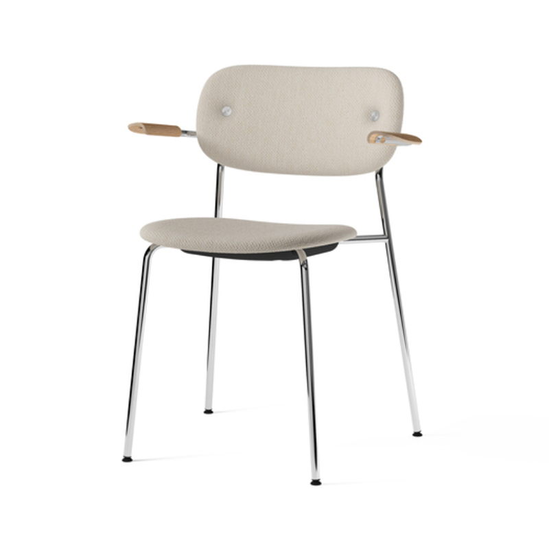 Menu-Co_Dining_Chair,_Fully_Upholstered_with_Armrest,_Chrome-by-Norm_Architects-Dedar_Milano_-_Doppiopanama_Avorio_(60__CO,_35__PL,_5__PA)-Menu_-_Natural_Oak-02 Olson and Baker - Designer & Contemporary Sofas, Furniture - Olson and Baker showcases original designs from authentic, designer brands. Buy contemporary furniture, lighting, storage, sofas & chairs at Olson + Baker.