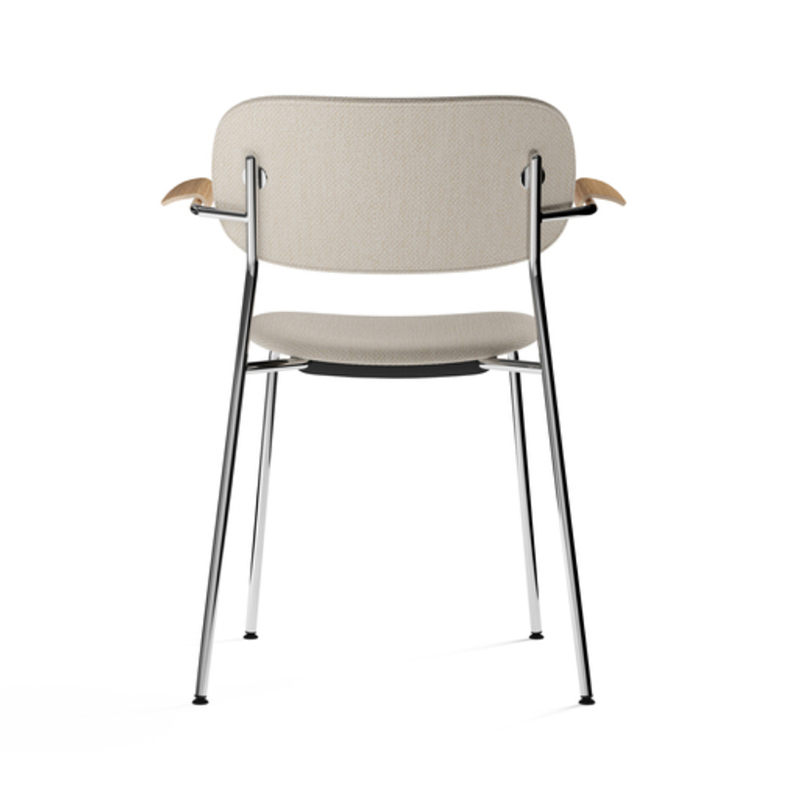Menu-Co_Dining_Chair,_Fully_Upholstered_with_Armrest,_Chrome-by-Norm_Architects-Dedar_Milano_-_Doppiopanama_Avorio_(60__CO,_35__PL,_5__PA)-Menu_-_Natural_Oak-03 Olson and Baker - Designer & Contemporary Sofas, Furniture - Olson and Baker showcases original designs from authentic, designer brands. Buy contemporary furniture, lighting, storage, sofas & chairs at Olson + Baker.