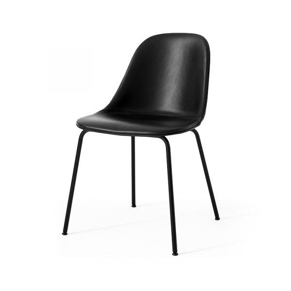 Harbour Fully Upholstered Dining Side Chair with Black Steel Base