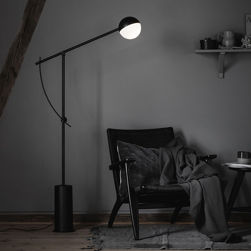 Northern_Balancer_Floor_Lamp_Black_by_Yuue_Lifeshot Olson and Baker - Designer & Contemporary Sofas, Furniture - Olson and Baker showcases original designs from authentic, designer brands. Buy contemporary furniture, lighting, storage, sofas & chairs at Olson + Baker.
