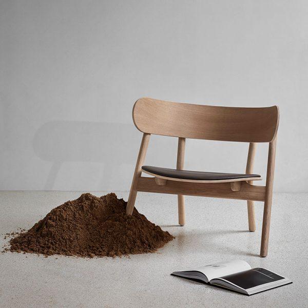 Oaki Lounge Chair in Light Oiled Oak with Upholstered Seat