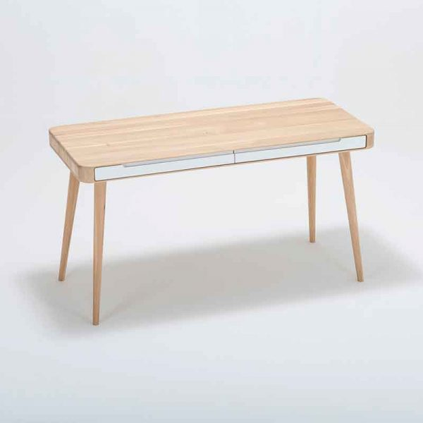 Ena Desk in Solid Oak and MDF White