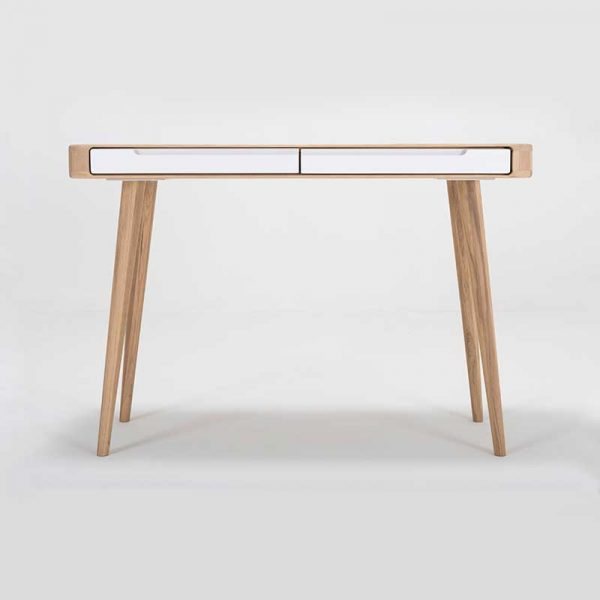 Ena Dressing Table in Solid Oak and MDF White