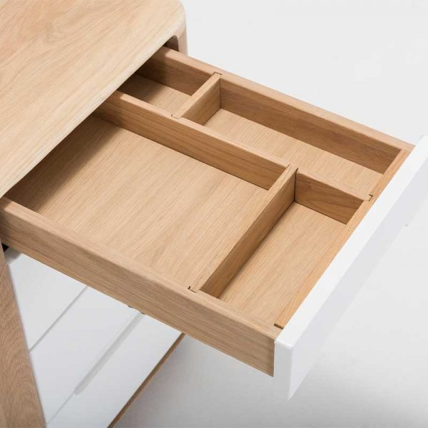 Ena Office Drawer in Solid Oak and MDF White
