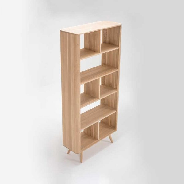 Ena Room Divider in Solid Oak and MDF White