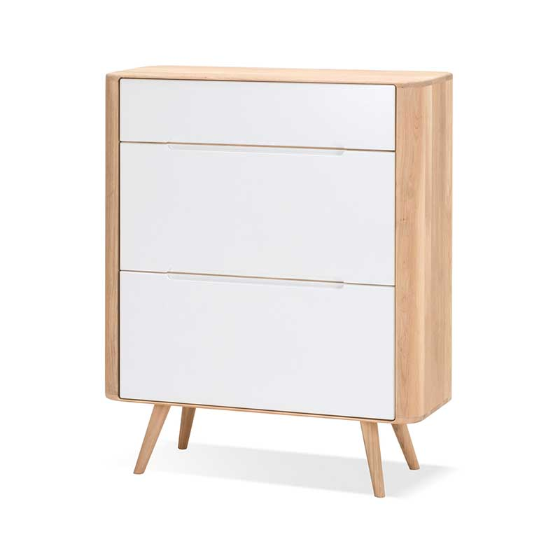 Gazzda Ena Shoe Cabinet in Solid Oak and MDF White by Salih Teskeredzic Olson and Baker - Designer & Contemporary Sofas, Furniture - Olson and Baker showcases original designs from authentic, designer brands. Buy contemporary furniture, lighting, storage, sofas & chairs at Olson + Baker.