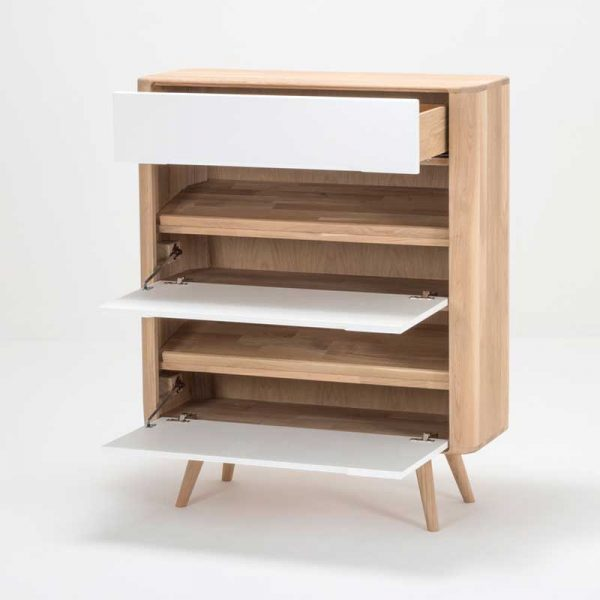 Ena Shoe Cabinet in Solid Oak and MDF White