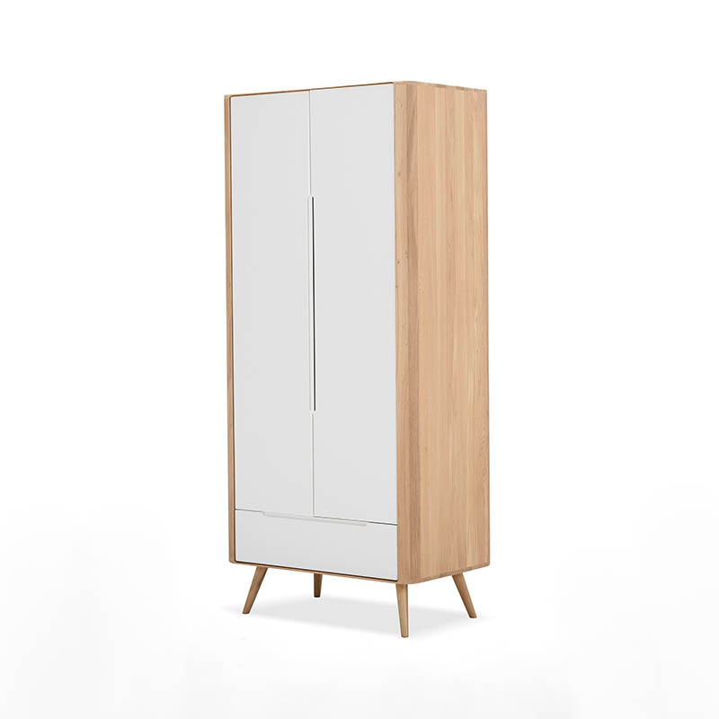 Gazzda Ena Wardrobe in Solid Oak and MDF White by Salih Teskeredzic Olson and Baker - Designer & Contemporary Sofas, Furniture - Olson and Baker showcases original designs from authentic, designer brands. Buy contemporary furniture, lighting, storage, sofas & chairs at Olson + Baker.