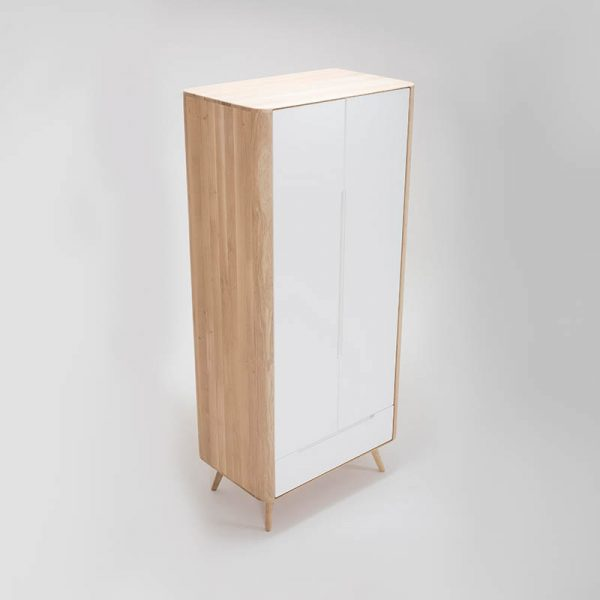 Ena Wardrobe in Solid Oak and MDF White