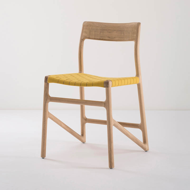 Gazzda_Fawn_Chair_140_by_Salih_Teskeredzic_Gazzda_-_1015_White_Solid_Oak_Oiled_with_4240_Yellow_Cotton_Webbing_Headboard_03 Olson and Baker - Designer & Contemporary Sofas, Furniture - Olson and Baker showcases original designs from authentic, designer brands. Buy contemporary furniture, lighting, storage, sofas & chairs at Olson + Baker.