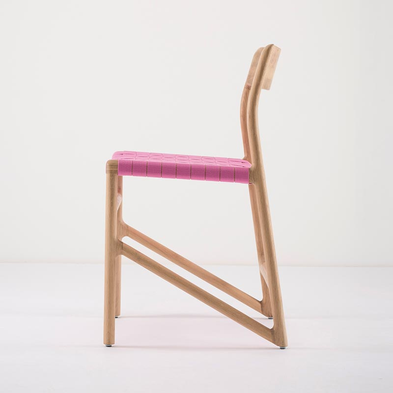 Gazzda_Fawn_Chair_140_by_Salih_Teskeredzic_Gazzda_-_1015_White_Solid_Oak_Oiled_with_4378_Pink_Cotton_Webbing_Headboard_02 Olson and Baker - Designer & Contemporary Sofas, Furniture - Olson and Baker showcases original designs from authentic, designer brands. Buy contemporary furniture, lighting, storage, sofas & chairs at Olson + Baker.