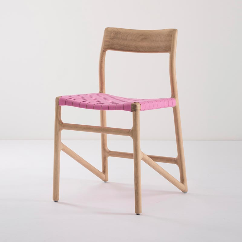 Gazzda_Fawn_Chair_140_by_Salih_Teskeredzic_Gazzda_-_1015_White_Solid_Oak_Oiled_with_4378_Pink_Cotton_Webbing_Headboard_03 Olson and Baker - Designer & Contemporary Sofas, Furniture - Olson and Baker showcases original designs from authentic, designer brands. Buy contemporary furniture, lighting, storage, sofas & chairs at Olson + Baker.