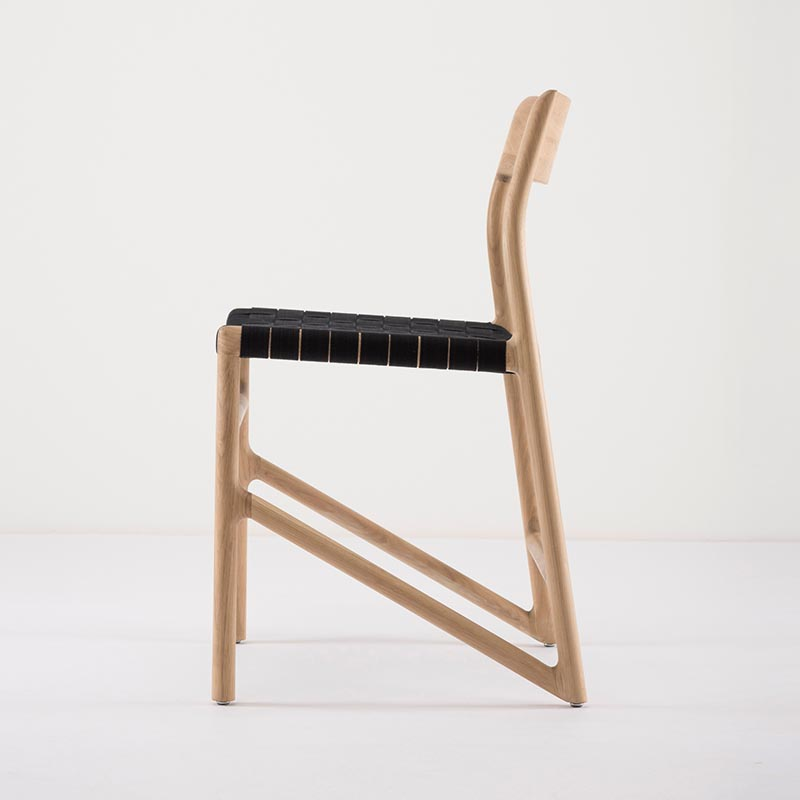 Gazzda_Fawn_Chair_140_by_Salih_Teskeredzic_Gazzda_-_1015_White_Solid_Oak_Oiled_with_4555_Black_Cotton_Webbing_Headboard_02 Olson and Baker - Designer & Contemporary Sofas, Furniture - Olson and Baker showcases original designs from authentic, designer brands. Buy contemporary furniture, lighting, storage, sofas & chairs at Olson + Baker.