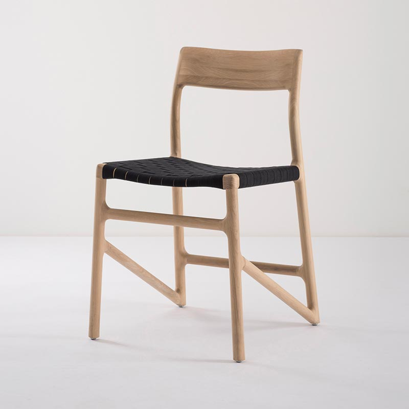 Gazzda_Fawn_Chair_140_by_Salih_Teskeredzic_Gazzda_-_1015_White_Solid_Oak_Oiled_with_4555_Black_Cotton_Webbing_Headboard_03 Olson and Baker - Designer & Contemporary Sofas, Furniture - Olson and Baker showcases original designs from authentic, designer brands. Buy contemporary furniture, lighting, storage, sofas & chairs at Olson + Baker.