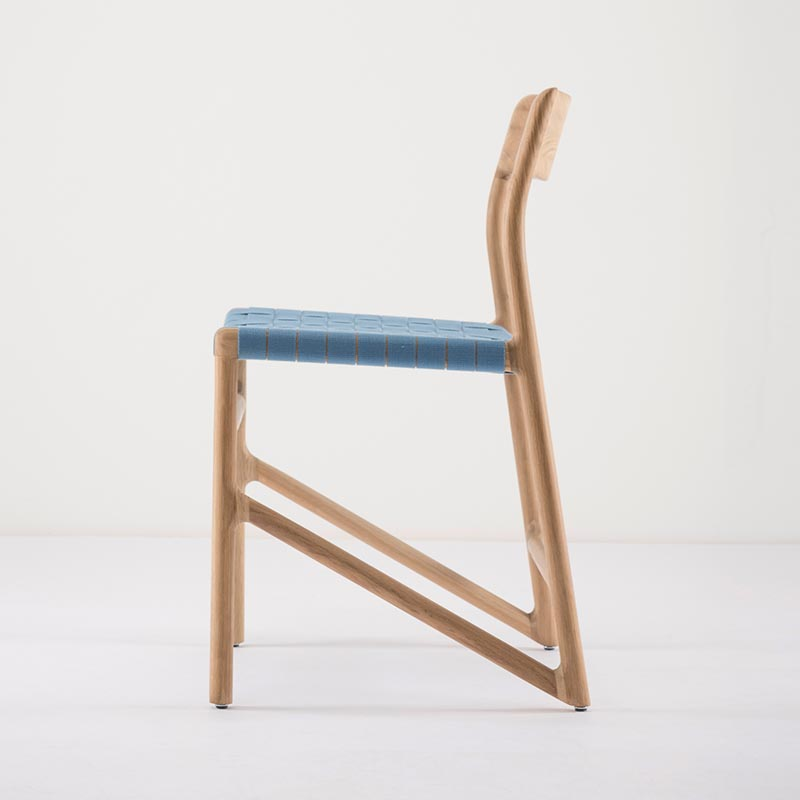 Gazzda_Fawn_Chair_140_by_Salih_Teskeredzic_Gazzda_-_1015_White_Solid_Oak_Oiled_with_4581_Blue_Cotton_Webbing_Headboard_02 Olson and Baker - Designer & Contemporary Sofas, Furniture - Olson and Baker showcases original designs from authentic, designer brands. Buy contemporary furniture, lighting, storage, sofas & chairs at Olson + Baker.