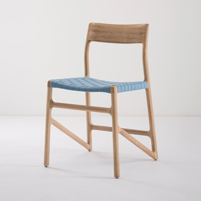 Gazzda_Fawn_Chair_140_by_Salih_Teskeredzic_Gazzda_-_1015_White_Solid_Oak_Oiled_with_4581_Blue_Cotton_Webbing_Headboard_03 Olson and Baker - Designer & Contemporary Sofas, Furniture - Olson and Baker showcases original designs from authentic, designer brands. Buy contemporary furniture, lighting, storage, sofas & chairs at Olson + Baker.