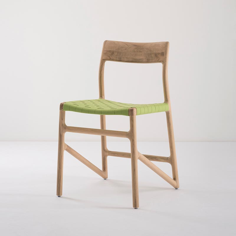 Gazzda_Fawn_Chair_140_by_Salih_Teskeredzic_Gazzda_-_1015_White_Solid_Oak_Oiled_with_4669_Green_Cotton_Webbing_Headboard_03 Olson and Baker - Designer & Contemporary Sofas, Furniture - Olson and Baker showcases original designs from authentic, designer brands. Buy contemporary furniture, lighting, storage, sofas & chairs at Olson + Baker.