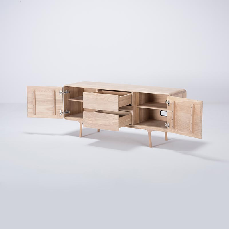 Gazzda_Fawn_Sideboard_in_Solid_Oak_by_Salih_Teskeredzic_150cm_03 Olson and Baker - Designer & Contemporary Sofas, Furniture - Olson and Baker showcases original designs from authentic, designer brands. Buy contemporary furniture, lighting, storage, sofas & chairs at Olson + Baker.